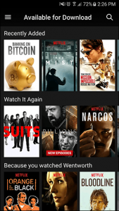 Available series for download on the netflix library