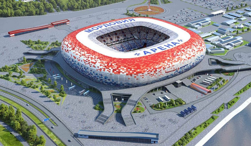 the world cup stadium mordovia arena from the outside in russia 2018