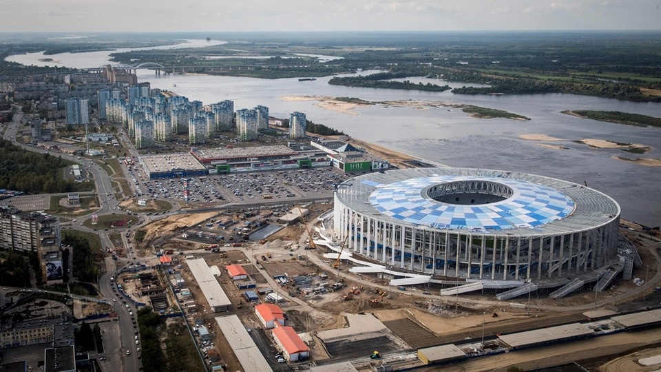 the world cup stadium nizhny novgorod stadium from the outside in russia 2018