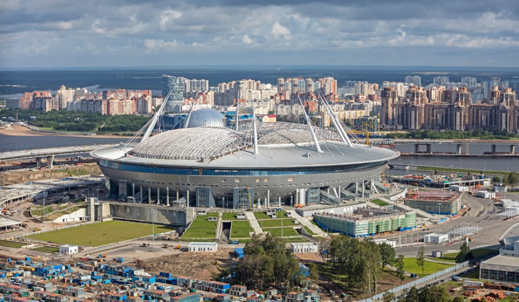 the world cup stadium saint petersburg stadium from the outside in russia 2018