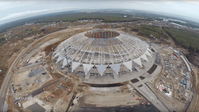 the world cup stadium samara arena from the outside in russia 2018